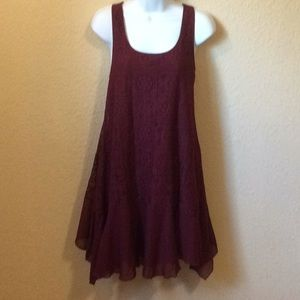 Paper Doll tunic / short dress size S, burgundy